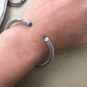 David Yurman 5MM Blue Topaz & Diamond Bracelet